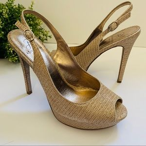 Adrianna Papell Size 8M Gold Glitter Shimmer Heels